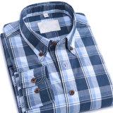Camice di cotone sottili di misura di plaid del Mens del manicotto lungo casuale delle camice