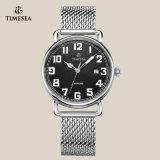 Relógio do aço inoxidável de quartzo da alta qualidade, relógio Men72165 do couro genuíno