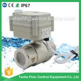 2 Edelstahl-Kugelventil-motorisiertes Steuerwasser-Kugelventil der Methoden-NSF61 elektrisches mit Handbetrieb