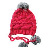 Acrylic Knitted Beanie Skullの方法冬の女性帽子か帽子
