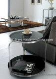 Mesa de centro/tabela de extremidade de aço de vidro preta/tabela de chá de vidro