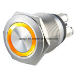 interruptor de pulsador del anillo LED del acero inoxidable de 19m m