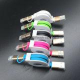 1개의 마이크로 USB 케이블 번개 케이블에 대하여 금속 쉘 철회 가능한 2