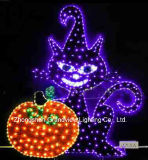 Balck Cat Halloween Decorations를 가진 주황색 Pumpkin