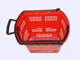 Paniers à provisions en plastique de roulement de supermarché en gros avec les roues 09062