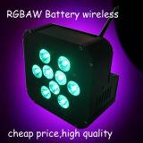 공장 가격 9PCS Rgabw 배터리 전원을 사용하는 편평한 LED 동위
