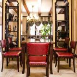 Tabella pranzante e presidenza intagliate Antiqued di legno francesi del cuoio di Upholatered del commercio all'ingrosso domestico matrice della mobilia di alta qualità