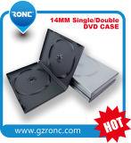 caso pp della casella di 14mm singolo/doppio di DVD di rettangolo lungo del nero