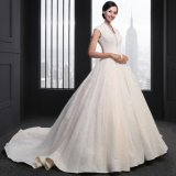 Cap Sleeve Lace A Line V-Neck Zipper Wedding Dress (SL-016)