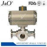 Hygienische 3 Methoden-Kugelventil-Schelle-Enden mit Stellzylinder