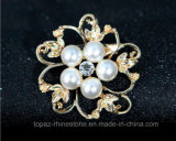 贅沢な方法宝石類のブローチの花の合金の真珠のブローチ(TB-021花)