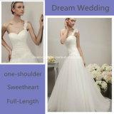 2016年のHalloweenの販売のハンドメイドのAラインテュル1枚の肩のウェディングドレスの工場顧客用花嫁衣装の服(夢100005)