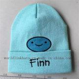 Chapéu feito malha acrílico do punho do Beanie do costume 100% com bordado dos desenhos animados