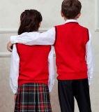 広州の赤く美しいV首の綿のベストの学生服