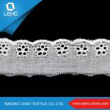 Merletto bianco del ricamo del tessuto di cotone, merletto del ricamo TC del cotone