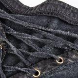 Camiseta asimétrica del algodón del cuello de T-463 Steampunk con el lazo hueco