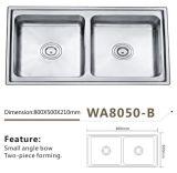 Edelstahl-Küche-zweiteilige Schweißens-Wanne Wa8050-B