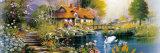 кабина в древесинах с различным нет модели картины маслом ландшафта заводов, цветков и птиц: Hx-4-026