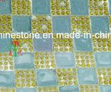 fer chaud de difficulté de Rhinestones de 8mm de transfert clair en verre de coeur sur la colle sur la feuille de maille de bande (améthyste de TM-24*40cm)