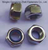 Noix Hex lourdes du blocage DIN985 en nylon avec galvanisé