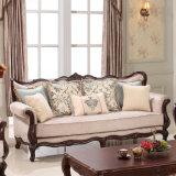 居間のための標準的な木ファブリックソファー愛シートの椅子そして骨董品表の一定の古典的なソファ