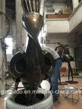 Oro decorativo al aire libre del negro de la escultura del pavo real del bronce del metal
