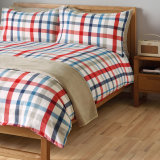 Colorblock Plaid Printed Polyester Patchwork Quilt