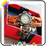 Orologio del quarzo delle donne di modo di alta qualità ed avvolgere del tessuto intorno alla vigilanza di cuoio
