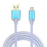 Cable de datos colorido de destello del USB de la mejora los 3FT/1m LED de la insignia del OEM para todo el teléfono móvil elegante
