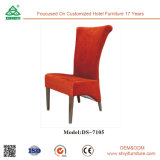 Venta al por mayor de la cubierta de tela de madera marco comedor silla para comedor