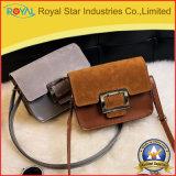 Портмоне монетки PU металла бумажника Brown женщин квадратное Buckling миниое кожаный короткое