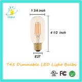 De LEIDENE van de Buis van de verdeler T45 Gloeidraad Lichte Edison Lamp UL maakte van een lijst