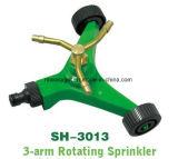 3-Arm роторный спринклер для лужайки, спринклер разноязычного брызга картины квадрата 3-Рукоятки завихряясь с основанием колеса металла