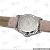 Couro Ltrap do aço inoxidável, relógio feito sob encomenda da senhora forma
