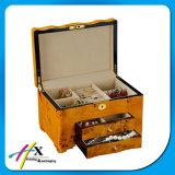 Rectángulo de joyería de madera por encargo con la guarnición del terciopelo