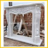 Cornija de lareira clássica de mármore branca da chaminé do estilo