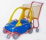 O trole das crianças caçoa o carro de compra