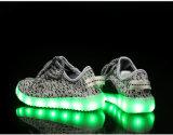 최신 작풍 Yeezy 시동 Lace-up Flyknit USB 책임 번쩍이는 아이 LED 단화