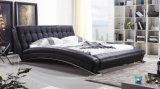 Кровать неподдельной кожи новой шикарной конструкции самомоднейшая (HC197) для спальни