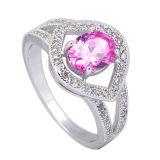 Ring 925 van CZ van de Juwelen van de manier de Zilveren Ring van de Besnoeiing van het Kussen