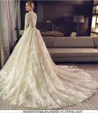 V-Stutzen Brautkleid-Champagne-geschwollene Spitze-Hochzeits-Kleider Z8016