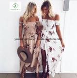 Женщины способа с платья пляжа плеча макси шифонового с флористической печатью
