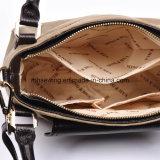 本革のトリムが付いている優雅なキャンバスの金属の鎖のショルダー・バッグ