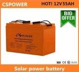 Батарея геля Cspower 12V55ah солнечная для уличного света, изготовления Китая