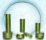 新しい到着の緑の化粧品の包装のための円形のアクリルのクリーム色のローションのびん(PPC-ALB-043)