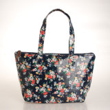 까만 PVC 화포 Handbag (99189-2) 꽃 패턴 숙녀