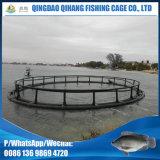 Gaiola de flutuação da piscicultura da tubulação do HDPE com corrimão