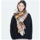 Слишком большой шарф квадрата шотландки края (80016)