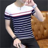 Le T-shirt d'O-Collet des hommes rayés de coton avec la chemise courte