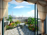 картина маслом пейзажа сада балкона 3D живейшая естественная для нутряной украшать